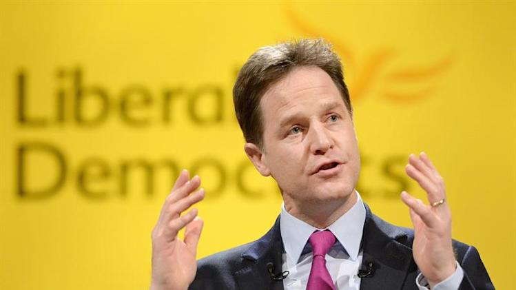 ARA4. York (United Kingdom), 09/03/2014.- Liberal Democratic party leader Nick Clegg delivers his key-note speech at the spring party conference in York, Britain, 09 March 2014. EFE/EPA/ANDY RAIN EFE/EPA/ANDY RAIN