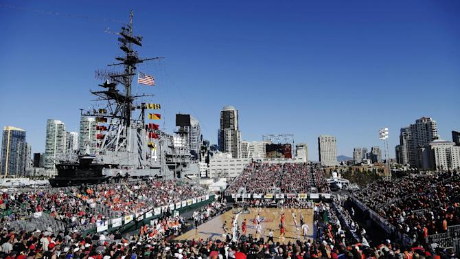 San Diego State guard Xavier Thames shoots as Syracuse defends during the first half of an NCAA college basketball game on the deck of the USS Midway, Sunday, Nov. 11, 2012, in San Diego. (AP Photo/Gregory Bull)