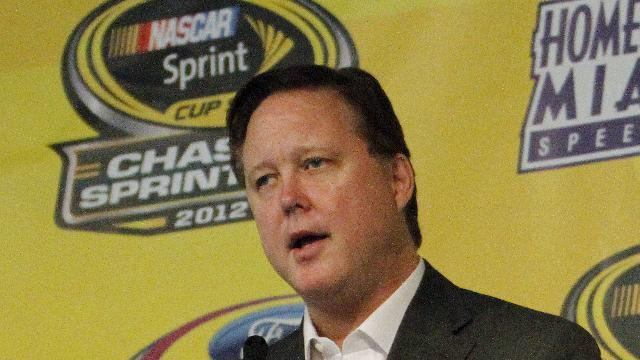 NASCAR Chairman and CEO, Brian France speaks during a news conference at Homestead-Miami Speedway, Saturday, Nov. 17, 2012 in Homestead, Fla. The final Sprint Cup Series auto race will take place Sunday afternoon. (AP Photo/David Graham)
