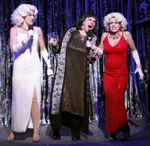 """This publicity photo released by Glenna Freedman Public Relations shows, from left, Natalie Charle Ellis, Marcus Stevens and Jenny Lee Stern, in a scene from Gerard Alessandrini's """"Forbidden Broadway: Alive & Kicking""""  in New York. A producer of the off-Broadway musical revue that hilariously tweaks shows and stars said Wednesday, Oct. 17, 2012, that its run will be extended through April 28. It opened Sept. 6 at the 47th Street Theatre after a three-year absence from New York. (AP Photo/Glenna Freedman PR, Carol Rosegg)"""