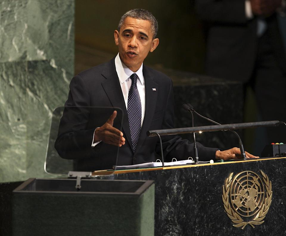 President Barack Obama speaks during the 67th session of the General Assembly at United Nations headquarters, Tuesday, Sept. 25, 2012. (AP Photo/Seth Wenig)
