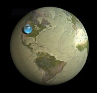 If all the world&#39;s water were to form a single drop, this is how big it would be: A sphere stretching from Salt Lake City, Utah to Topeka, Kansas. Though this mega-droplet looks small compared to Earth&#39;s bulk, the two dimensionality of this ima