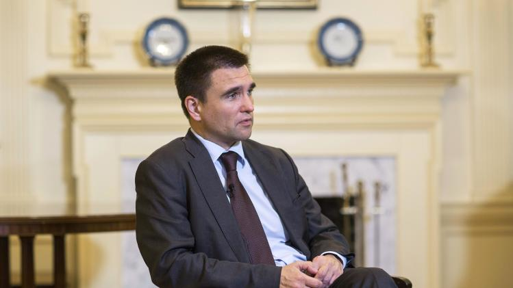 Ukraine's Foreign Minister Klimkin speaks during an interview in Washington