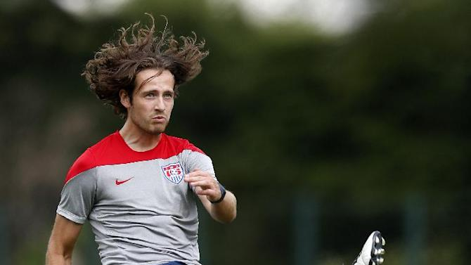 United States' Mix Diskerud's makes a hop while going for a shot during a training session at the Sao Paulo FC training center in Sao Paulo, Brazil, Wednesday, June 11, 2014. The U.S. will play in group G of the 2014 soccer World Cup