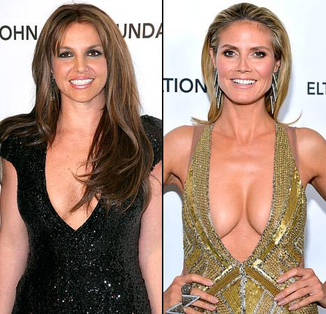 Heidi Klum, Britney Spears and Others Show Off Major Cleavage at Oscar Parties