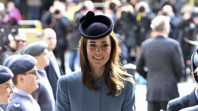 Britain's Catherine, Duchess of Cambridge arrives at an event to mark the 75th anniversary of the RAF Air Cadets, at St Clement Danes church in London