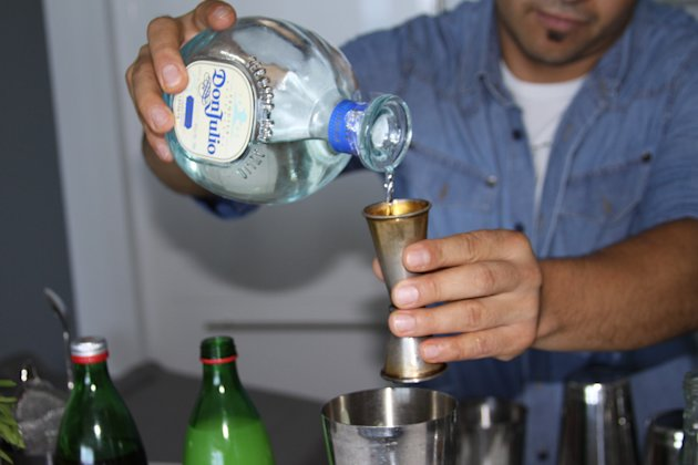 1. Pour 1 oz. Tequila Don Julio Blanco into a shaker. This type of tequila is perfect to use with citric flavors and blends very well with cocktails.