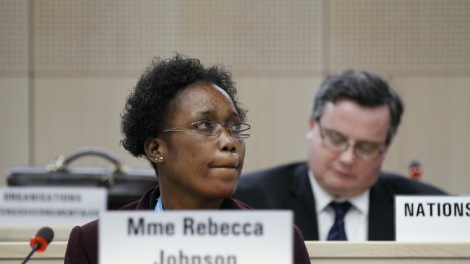 Health worker and Ebola survivor from Sierra Leone Mme Rebecca Johnson looks on before a special meeting on Ebola at the WHO headquarters in Geneva