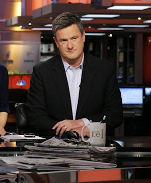 """This 2009 photo released by MSNBC shows Joe Scarborough on the set of his """"Morning Joe,"""" show in New York. Scarborough's morning talk show airs from 6 a.m.- 9 a.m. weekdays on MSNBC. (AP Photo/MSNBC,  Virginia Sherwood)"""