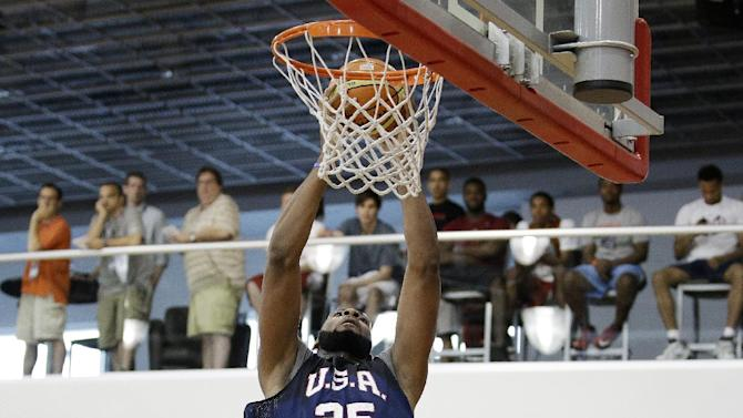 Detroit Pistons' Andre Drummond makes a dunk during a USA Basketball minicamp scrimmage Monday, July 28, 2014, in Las Vegas