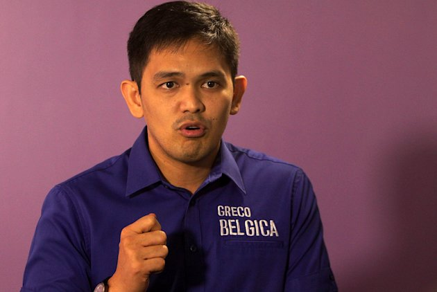 (Greco Belgica, son of Grepor &quot;Butch&quot; Belgica and former Manila City Councilor, running for senator in the coming May 2013 elections, gestures during an interview with Yahoo! Philippines, at the Yahoo! Philippines office in Taguig, south of Manila on 20 February 2013. (George Calvelo/NPPA Images)