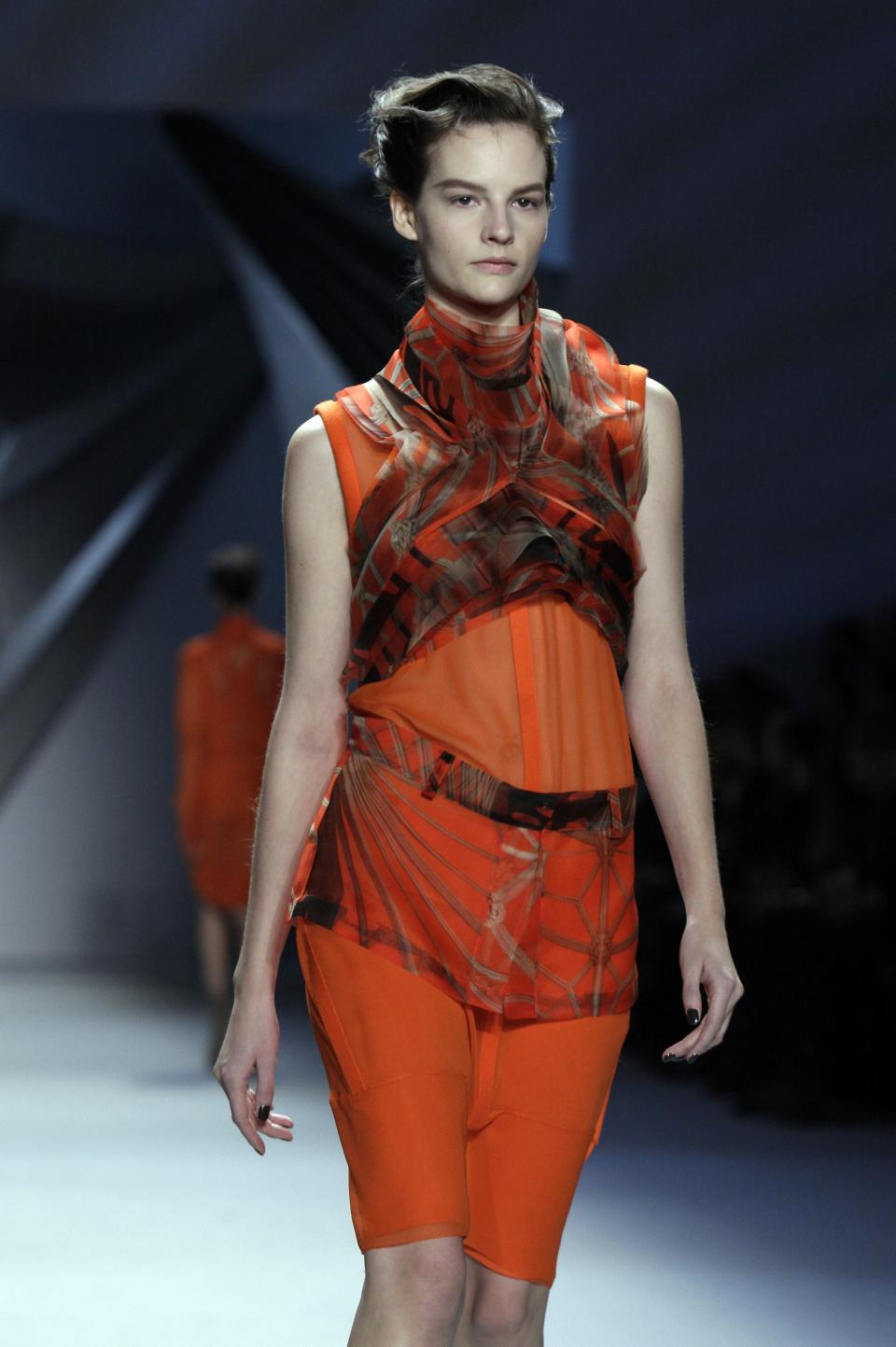 The Vera Wang Fall 2012 collection is modeled during Fashion Week, in New York,  Tuesday, Feb. 14, 2012. (AP Photo/Richard Drew)