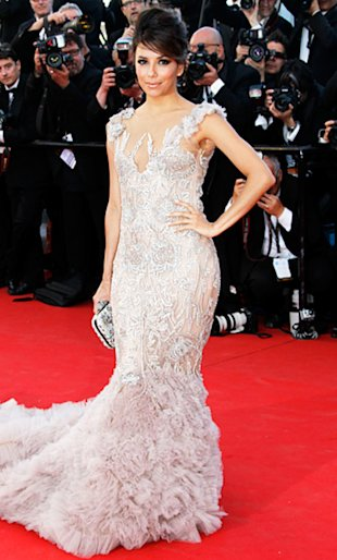 Eva Longoria attended the Cannes premiere of Moonrise Kingdom in a dramatic and intricately embroidered Marchesa number