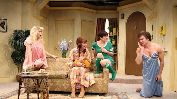 """This undated publicity photo released by Kornberg PR shows, from left, Anna Chlumsky, Kate Buddeke, Hannah Cabell and Jake Silbermann in a scene from David Adjmi's play, """"3C"""", performing off-Broadway at Rattlestick Playwrights Theater in New York. (AP Photo/Kornberg PR, Joan Marcus)"""