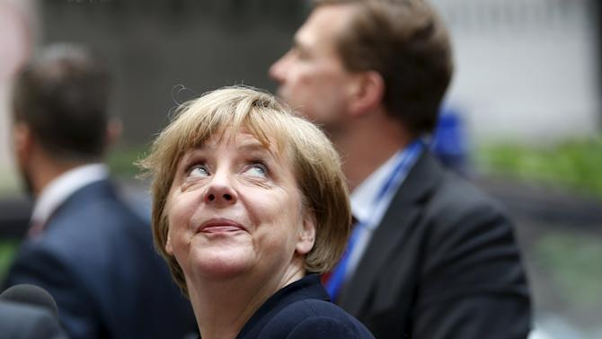 Germany's Chancellor Merkel arrives at an emergency euro zone summit in Brussels