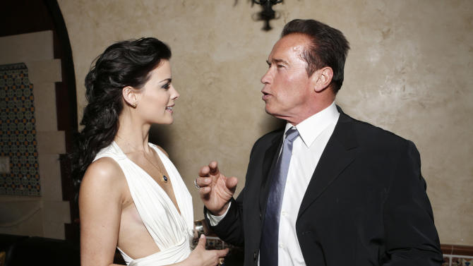 """Jaimie Alexander and Arnold Schwarzenegger attend the after party for the LA premiere of """"The Last Stand"""" at Grauman's Chinese Theatre on Monday, Jan. 14, 2013, in Los Angeles. (Photo by Todd Williamson/Invision/AP)"""