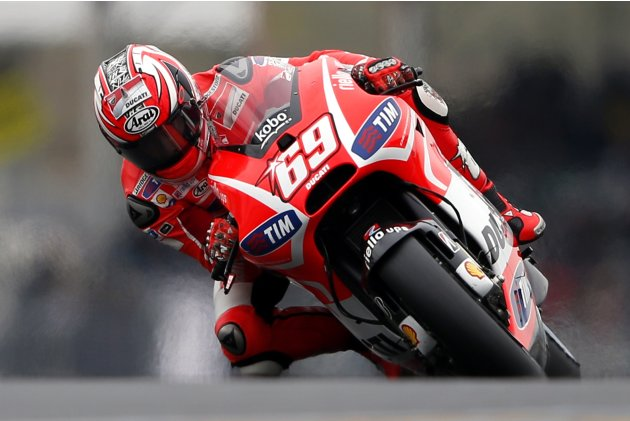 Ducati MotoGP rider Hayden of the U.S. takes part in the fourth free practice session of the French Grand Prix in Le Mans circuit