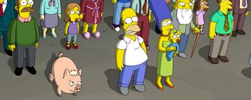 Homer (voiced by Dan Castellaneta ), Marge (voiced by Julie Kavner ), Maggie and the citizens of Springfield in 20th Century Fox's The Simpsons Movie