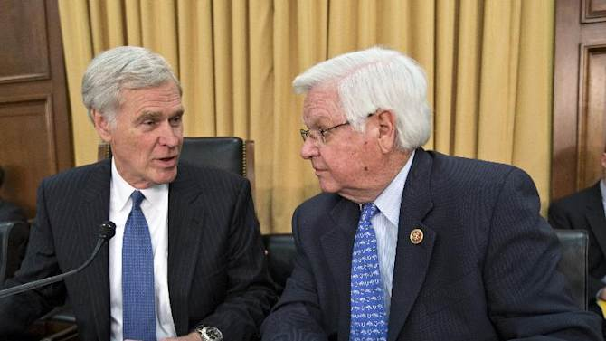 "FILE - In this June 3, 2013, file photo House Appropriations Committee Chairman Rep. Hal Rogers, R-Ky., right, talks with the chairman of the committee that funds the IRS, Rep. Ander Crenshaw, R-Fla., the House Financial Services and General Government subcommittee, on Capitol Hill in Washington during a hearing with acting IRS Commissioner Danny Werfel. Republicans have fought the health care law since it was enacted in 2010 without a single GOP vote. Now the IRS scandals are getting some Republicans a timely excuse to to starve it by refusing funding for its implementation. ""I think it's safe to say they're (IRS) not going to get the kind of increase they're asking for,"" said Crenshaw, R-Fla. ""The question is, based on their bad behavior, are they going to end up with less money?"" he said.  (AP Photo/J. Scott Applewhite, File)"