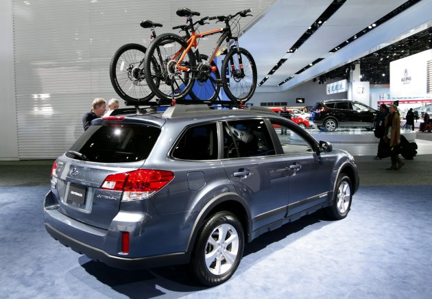 &lt;p&gt;               Bicycles are shown as accessories on the Suburu Outback wagon at the North American International Auto Show in Detroit, Wednesday, Jan. 16, 2013. Transportation of the two-wheeled variety is sharing the floor at the auto show in Detroit along with the latest cars, trucks and concept vehicles. Bikes weren&#39;t the focus of presentations during this week&#39;s press previews, but they&#39;re often used in marketing cars. (AP Photo/Paul Sancya)