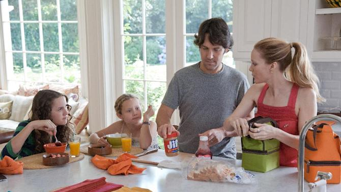 """This publicity film image released by Universal Pictures shows, from left, Maude Apatow, Iris Apatow, Paul Rudd and Leslie Mann in a scene from the film, """"This is 40."""" (AP Photo/Universal Pictures, Suzanne Hanover)"""