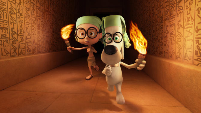"This image released by DreamWorks Animation shows Sherman, voiced by Max Charles, left, and Mr. Peabody, voiced by Ty Burell, in a scene from the animated film, ""Mr Peabody & Sherman."" (AP Photo/ DreamWorks Animation)"