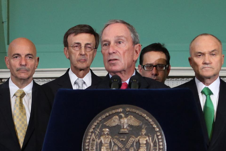 New York City Mayor Michael Bloomberg, center, briefs the media on the city's preparations for Hurricane Irene, Thursday, Aug. 25, 2011 in New York. (AP Photo/NYC Mayor's Office, Kristen Artz)