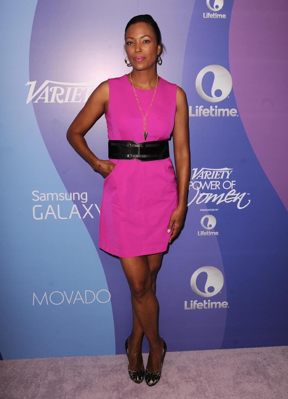 Actress Aisha Tyler arrives at Variety's 5th Annual Power of Women event at the Beverly Wilshire Hotel on Friday, Oct. 4, 2013, in Beverly Hills, Calif. (Photo by Jordan Strauss/Invision/AP)