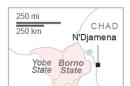 Map locates Nigeria and neighboring states.; 1c x 4 inches; 46.5 mm x 101 mm;