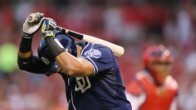 San Diego Padres' Yangervis Solarte reacts after striking out to end the top of the sixth inning during during a baseball game against the St. Louis Cardinals, Thursday, July 2, 2015 in St. Louis. (Chris Lee/St. Louis Post-Dispatch via AP)  EDWARDSVILLE INTELLIGENCER OUT; THE ALTON TELEGRAPH OUT; MANDATORY CREDIT