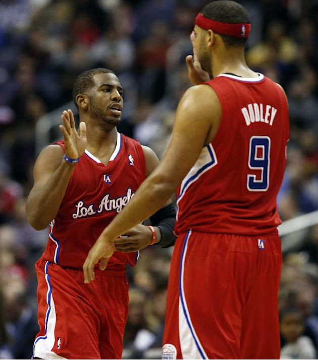 Los Angeles Clippers guard Chris Paul (3) and forward Jared Dudley (9) celebrate in the second half of an NBA basketball game against the Washington Wizards, Saturday, Dec. 14, 2013, in Washington. Th