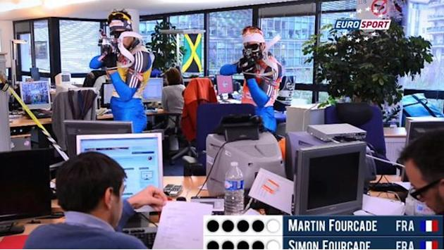 Biathlon - Fourcade brothers race in Eurosport office