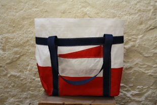 Red sail cloth tote bag