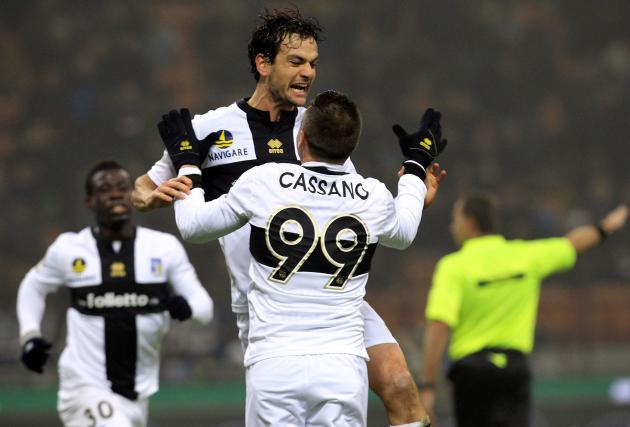 Parma's Marco Parolo celebrates with his team mate after scoring Parma's second goal against Inter Milan during their Italian Serie A soccer match in Milan