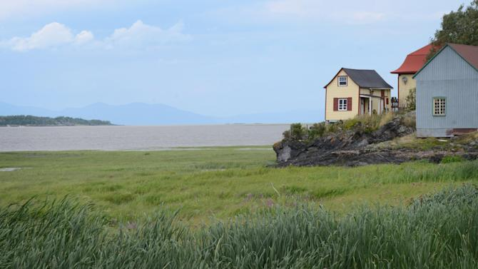 In this photo taken Aug. 15, 2013, windswept homes are seen by the river on Ile-aux-Grues in the St. Lawrence River. The island offers quiet roads and stunning river vistas for cyclists and lovers of solitude. (AP Photo/Calvin Woodward)