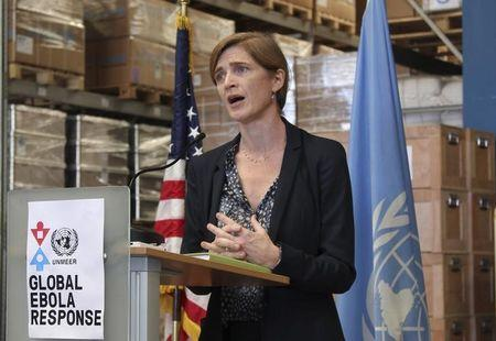 U.S. Ambassador to the United Nations, Samantha Power speaks at UNMEER's warehouse at its headquarters in Accra Ghana