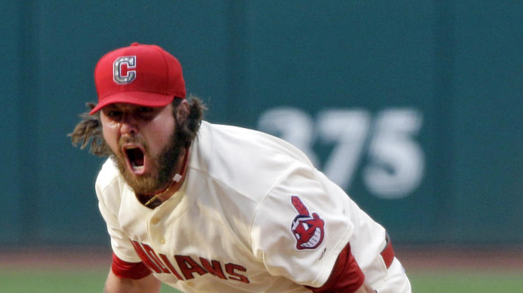 Cleveland Indians relief pitcher Chris Perez reacts after the final out in their 8-5 win over the Kansas City Royals in a baseball game, Monday, May 28, 2012, in Cleveland. (AP Photo/Mark Duncan)