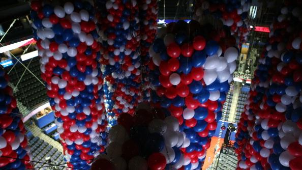 Balloons hang above the convention floor ahead of the Republican National Convention at Tampa Bay Times Forum on August 25, 2012 in Tampa, Florida. Area residents are preparing for Tropical Storm Isaac just before the Republican National Convention which will be held at the Tampa Bay Times Forum during the week of August 27th. (Photo by Chip Somodevilla/Getty Images)