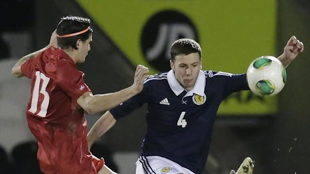 Lewis Toshney, right, netted his first goal for Scotland Under-21s in the 3-0 victory over Luxembourg