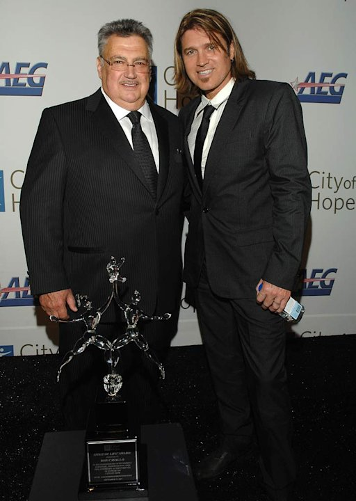 Disney Music Group's Bob Cavallo and Billy Ray Cyrus attends the 2007 Spirit of Life Award Dinner at the Pacific Design Center on September 27, 2007 in West Hollywood, California.