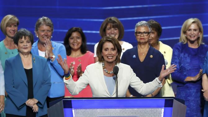 House Democratic Leader Pelosi and the Democratic Women of the House appear on stage during the second day at the Democratic National Convention in Philadelphia