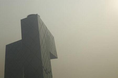 CCTV building is pictured during heavy haze in Beijing's central business district