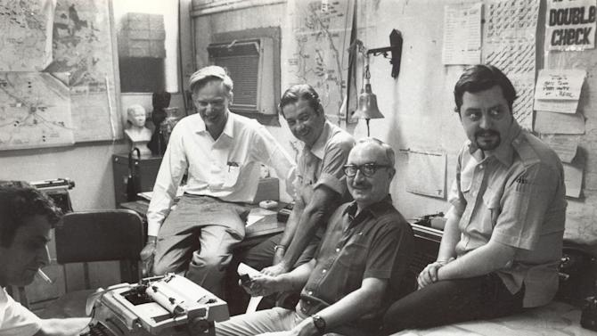 In this April 28, 1972 file photo shows once-and-future bureau cheifs at The Associated Press' Saigon bureau, from left, George Esper (1973-75),  Malcolm Browne (1961-64), George McArthur (1968-69), Edwin Q. White (1965-67), and Richard Pyle (1970-73). White, a Saigon bureau chief for The Associated Press during the U.S. buildup in the Vietnam War, died Thursday, Nov. 1, 2012 in Honolulu at age 90. (AP Photo)