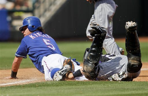 Pacheco has 3 RBIs, Rockies beat Rangers 6-1