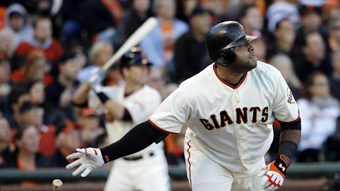San Francisco Giants' Pablo Sandoval hits a double during the first inning of Game 6 of baseball's National League championship series against the St. Louis Cardinals Sunday, Oct. 21, 2012, in San Francisco. (AP Photo/David J. Phillip)