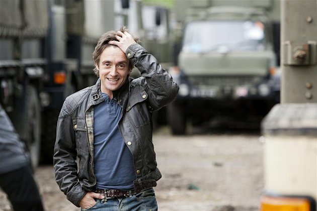 "Richard Hammond at an army disposal yard in order to pick a suitable machine to use in the Top Gear demolition challenge as seen in ""Top Gear."""