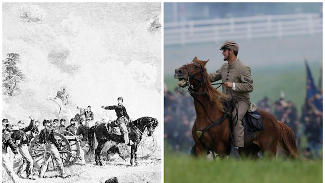 This combination image shows, left, a sketch of Bayard Wilkeson, on horseback, directing the fire of the 4th U.S. Artillery against the Confederate ranks during the battle of Gettysburg, July 4, 1863, and right, a mounted Confederate re-enactor taking part in a demonstration of a battle during ongoing activities commemorating the 150th anniversary of the Battle of Gettysburg, Friday, June 28, 2013, in Gettysburg, Pa. The sketch is by combat artist Lt. Alfred R. Waud. (AP Photo)