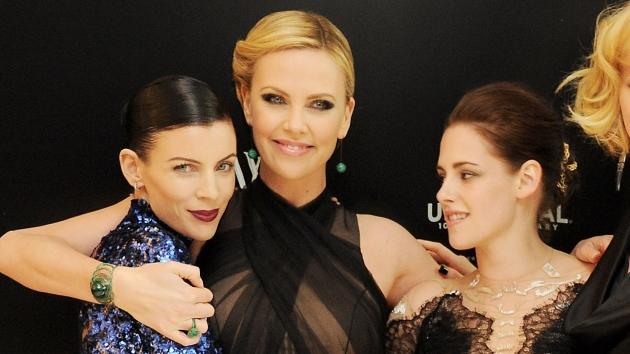 Liberty Ross, Charlize Theron and Kristen Stewart seen at the premiere of 'Snow White And The Huntsman' at Empire Leicester Square in London on May 14, 2012 -- Getty Premium