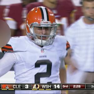 Cleveland Browns quarterback Johnny Manziel shows his frustration