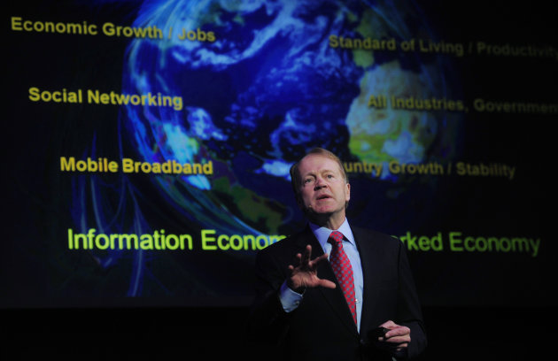 FILE - In this Feb. 16, 2011 file photo, Cisco Chairman & CEO John Chambers speaks during a conference at the Mobile World congress in Barcelona, Spain. Chambers on Wednesday, June 20, 2012 announced an ambitious effort to help create 12,000 high-tech jobs in Israel&#39;s distressed Arab sector over the next four years. Chambers said the initiative represents a significant expansion of ?Maantech,? a year-old project launched by major high-tech companies and backed by the Israeli president that aims to reduce gaps between Israeli Arabs and Jews. (AP Photo/Manu Fernandez, File)
